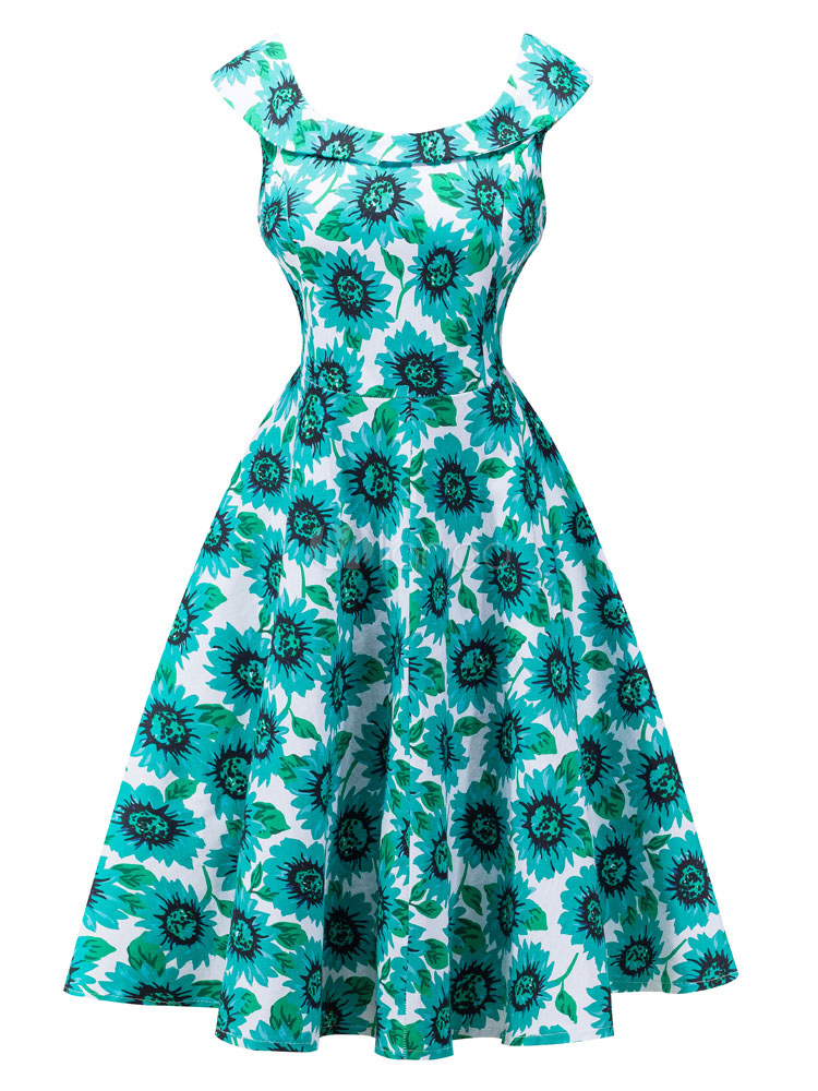 Green Vintage Dress Floral Printed Round Neck Sleeveless Pleated Women's Flare Dress (Women\\'s Clothing Vintage Dresses) photo