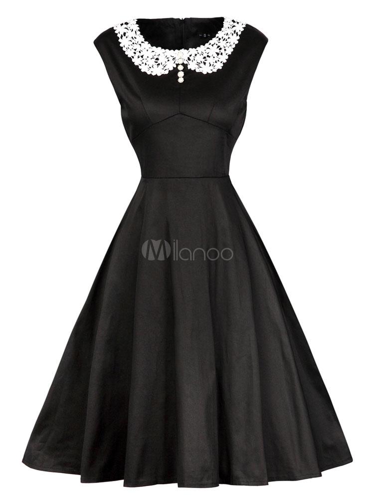 Black Vintage Dress Embellished Collar Sleeveless Pleated Skater Dress (Women\\'s Clothing Vintage Dresses) photo