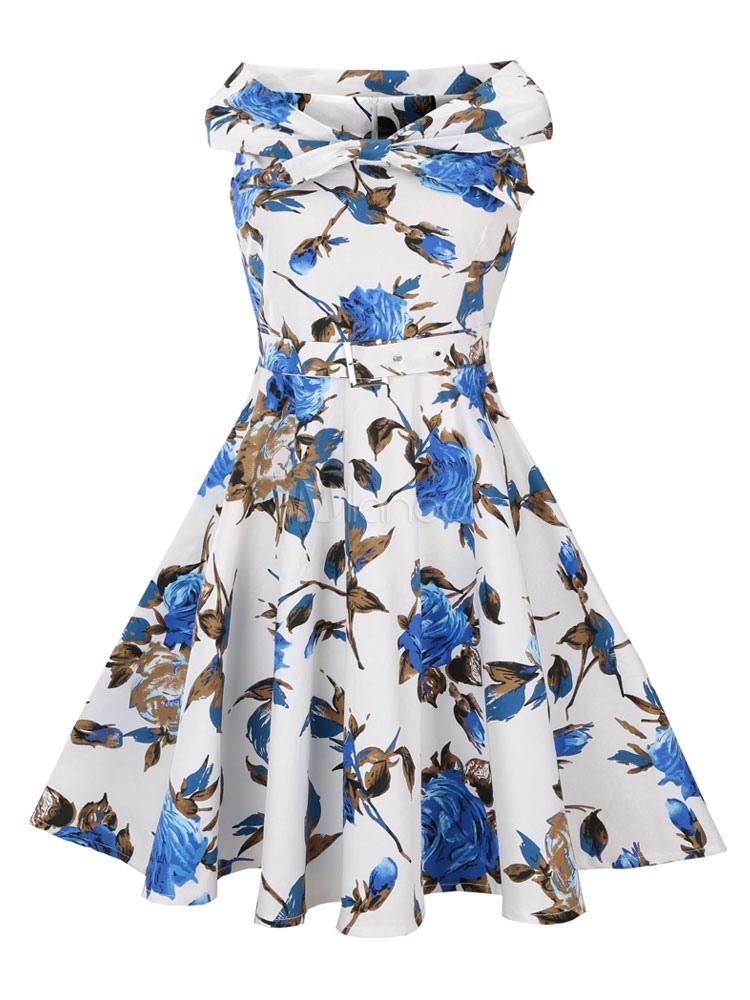 White Vintage Dresses Floral Print Sleeveless Bateau Women's Retro Fit And Flare Dresses (Women\\'s Clothing) photo
