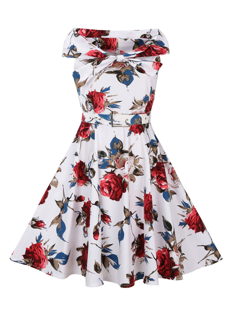 White Vintage Dress Floral Print Sleeveless Women's Retro Fit And Flare Dress (Women\\'s Clothing Vintage Dresses) photo