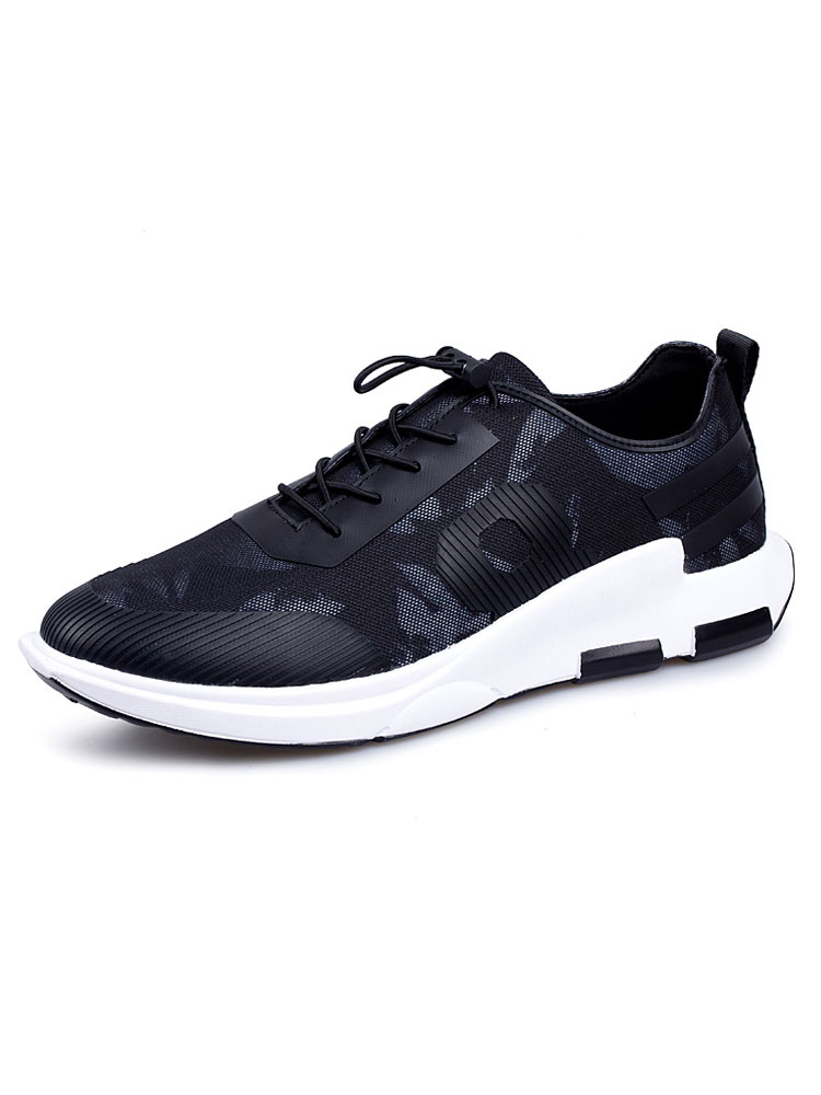 Men's Casual Sneakers Mesh Round Toe Elastic Drawstring Lace Up Comfy Athletic Shoes thumbnail