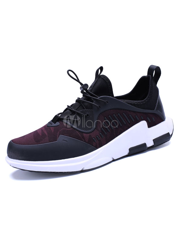 Men's Casual Sneakers Elastic Fabric Round Toe Printed Drawstring Comfy Athletic Shoes thumbnail