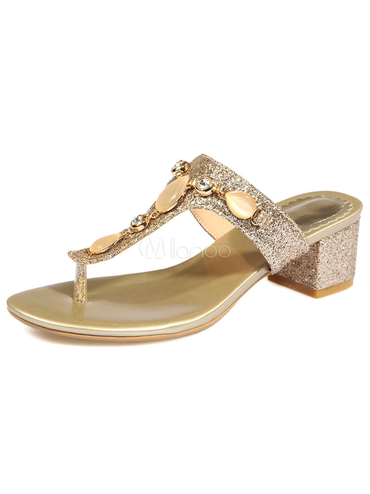 gold flip flops glitter mid chunky ferse strass perlen perlen sandalen. Black Bedroom Furniture Sets. Home Design Ideas