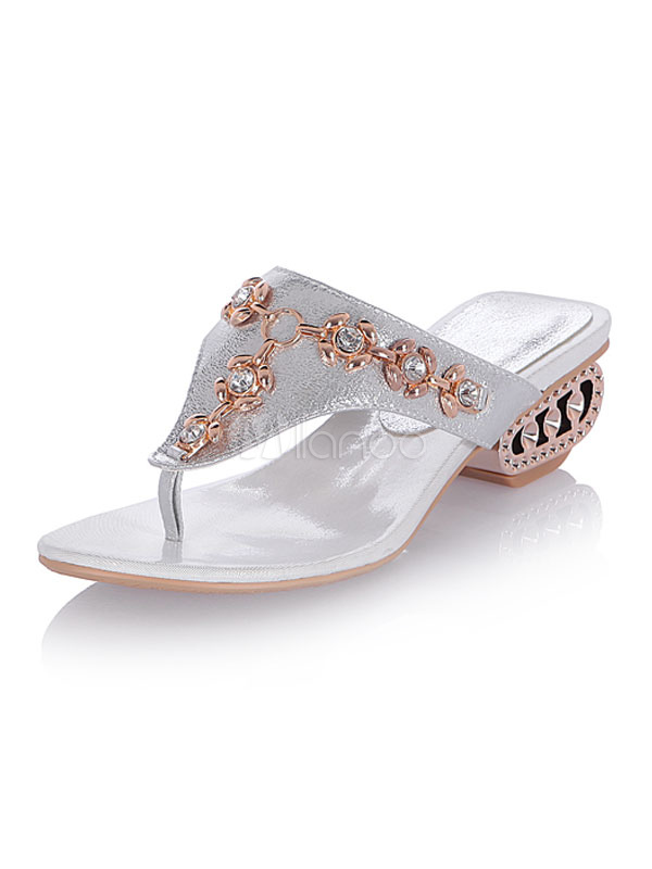 silber flip flops glitzer zehenpfosten strass perlen sandalen hausschuhe f r frauen. Black Bedroom Furniture Sets. Home Design Ideas