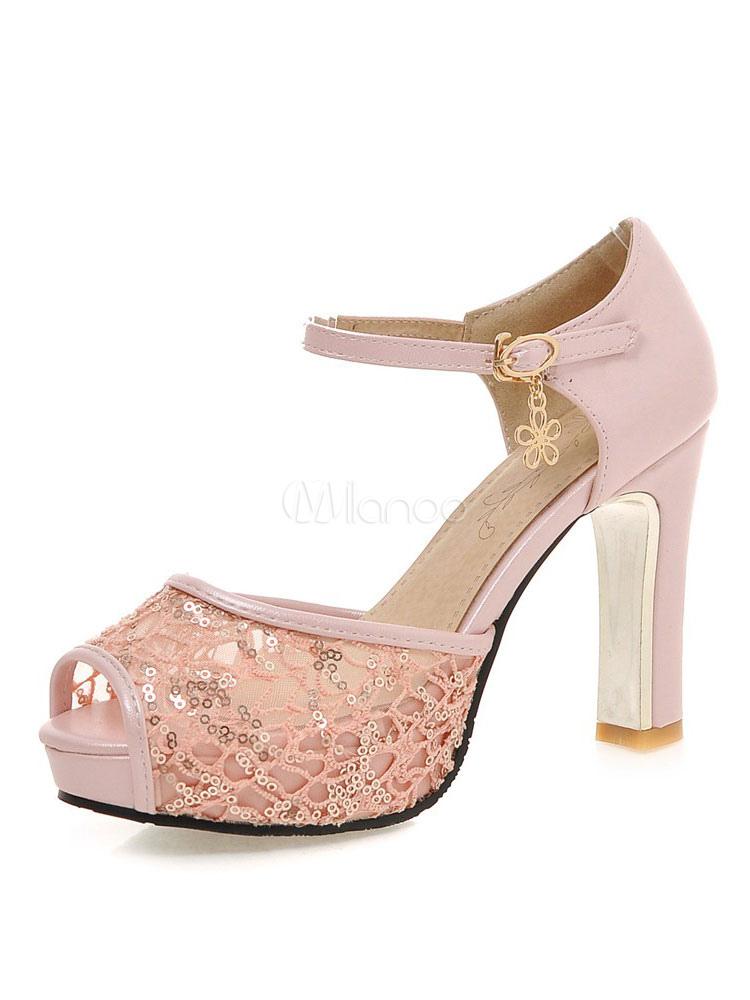 high heel sandalen wei e spitze sequin peep toe platform buckled sandale schuhe. Black Bedroom Furniture Sets. Home Design Ideas