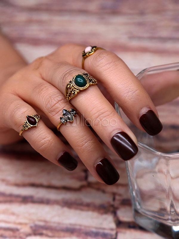Bronze Retro Rings Women's Geometric Rings In 4 Piece Set thumbnail