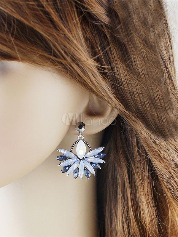 Blue Drop Earrings Rhinestones Pierced Dangle Earrings For Women thumbnail