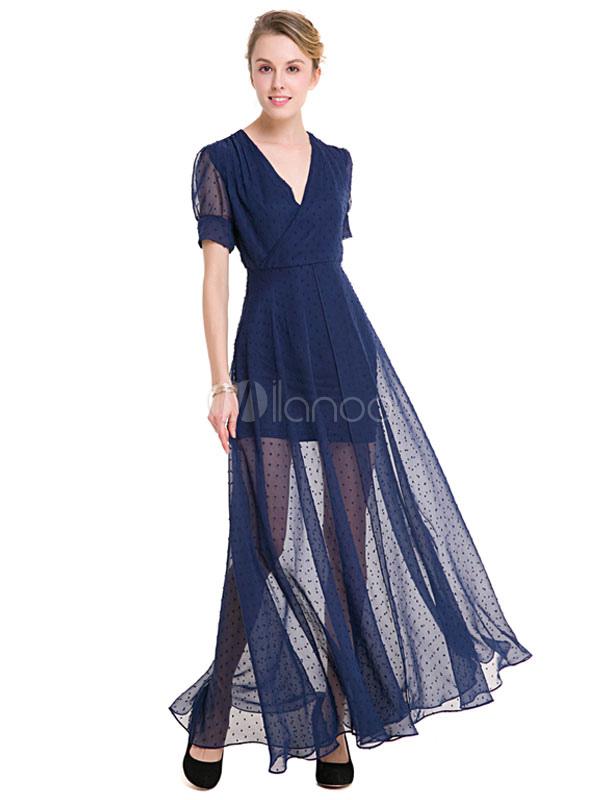 Chiffon Maxi Dress Deep Blue V Neck Short Sleeve Semi-Sheer Pleated Long Dress For Women (Women\\'s Clothing Maxi Dresses) photo