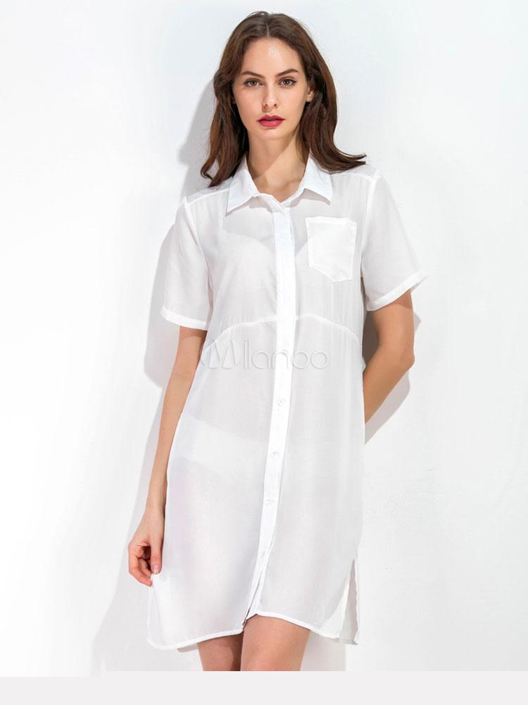 White Shirt Dress Short Sleeve Chiffon Women's Summer Dresses (Women\\'s Clothing Shirt Dresses) photo