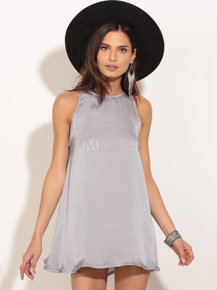 Grey Mini Dress Silk Like Sleeveless Women's Summer Short Swing Dresses (Women\\'s Clothing Mini Dresses) photo