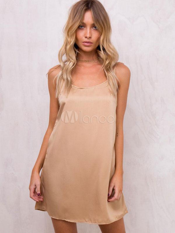 Women's Mini Dress Sleeveless Silk Like Soft Pink Summer Short Dresses (Women\\'s Clothing Mini Dresses) photo