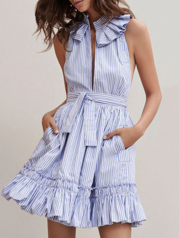 Blue Skater Dress Striped Embellished Collar Sleeveless Cut Out Ruffle Short Dress (Women\\'s Clothing Skater Dresses) photo