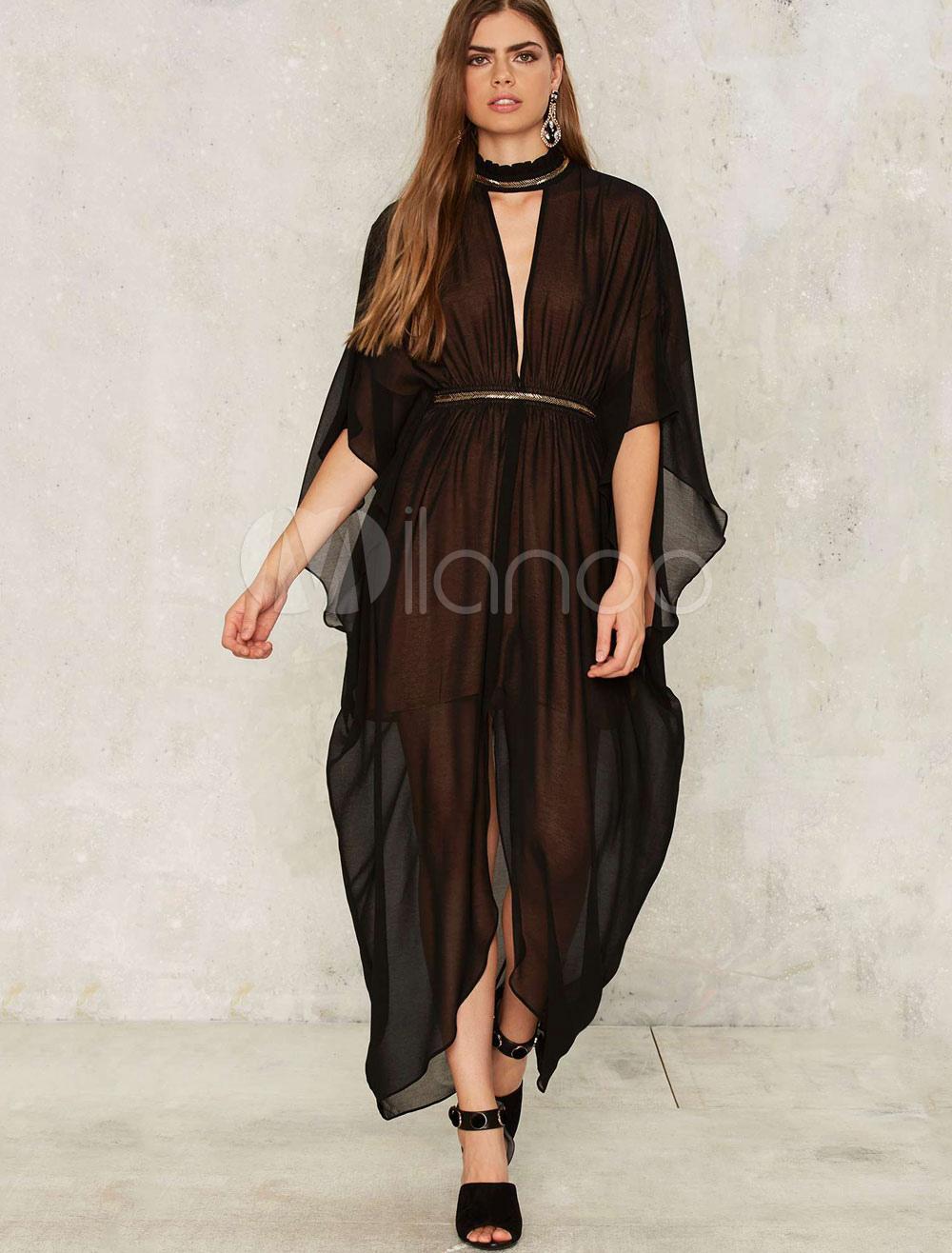 Black Maxi Dress Metallic High Collar Butterfly Sleeve Cut Out Draped Semi Sheer Slit Chic Long Dress (Women\\'s Clothing Maxi Dresses) photo