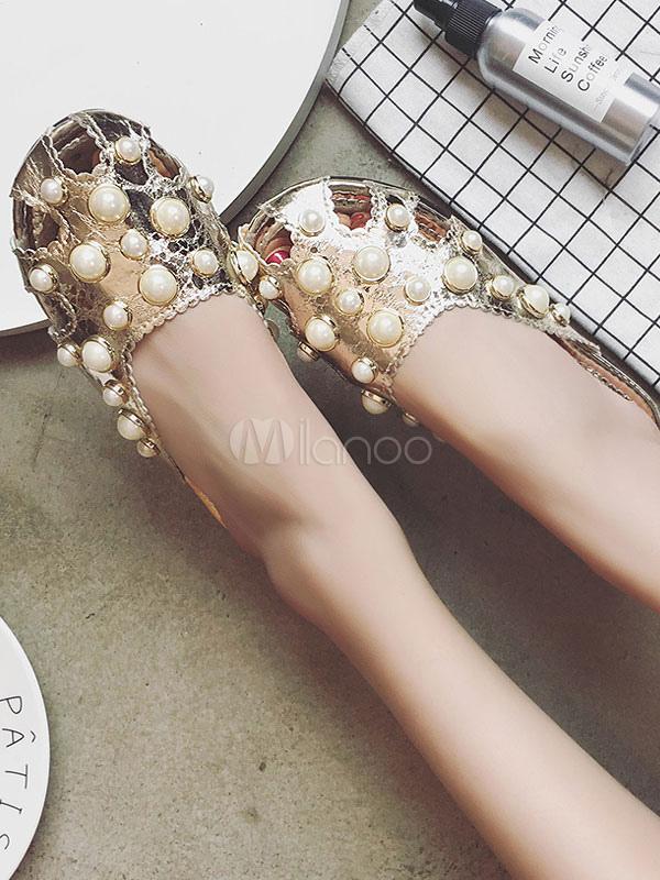 damen sandalen pu mit perlen wulst ausschnitt runde zehe. Black Bedroom Furniture Sets. Home Design Ideas