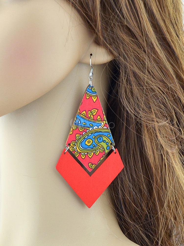 Boho Dangle Earrings Red Printed Pierced Statement Earrings For Women thumbnail