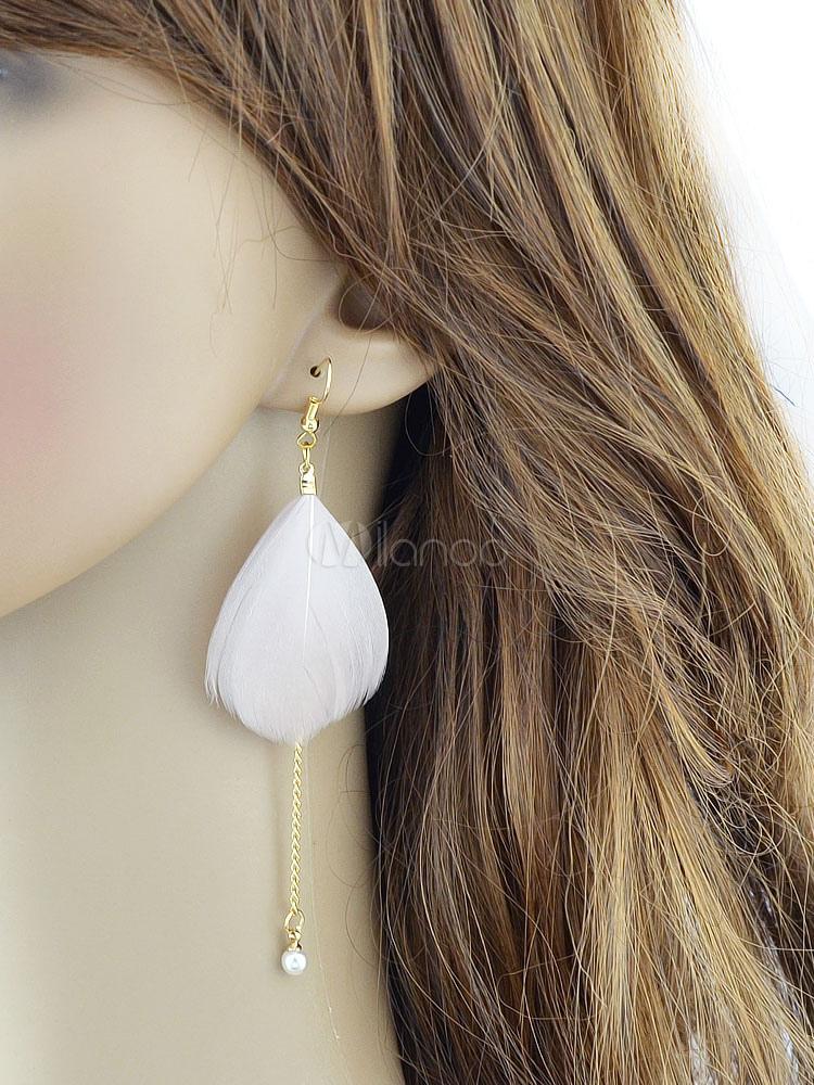 Pink Dangle Earrings Feather Cubes Chain Women's Alloy Hook Earrings thumbnail