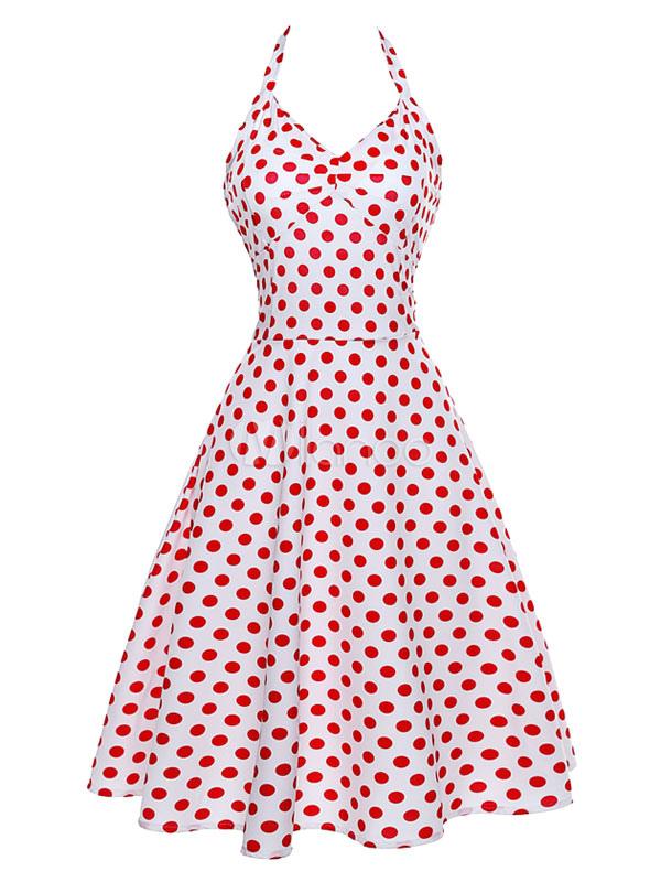 Red Retro Dress Polka Dot Print Halter Women's Lace Up Short Vintage Dresses (Women\\'s Clothing) photo