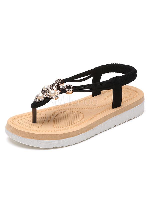 sandalen suede textile f r alltag mit perlen im schicken. Black Bedroom Furniture Sets. Home Design Ideas
