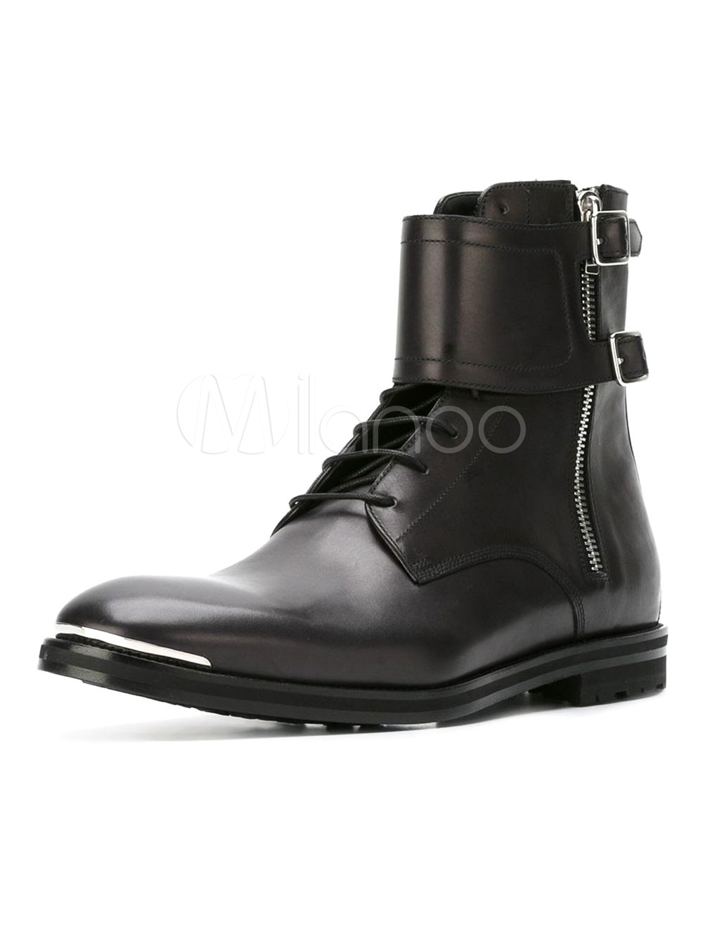 Black Martin Boots Cowhide Metallic Buckled Round Toe Zipper Men's High Top Boots thumbnail