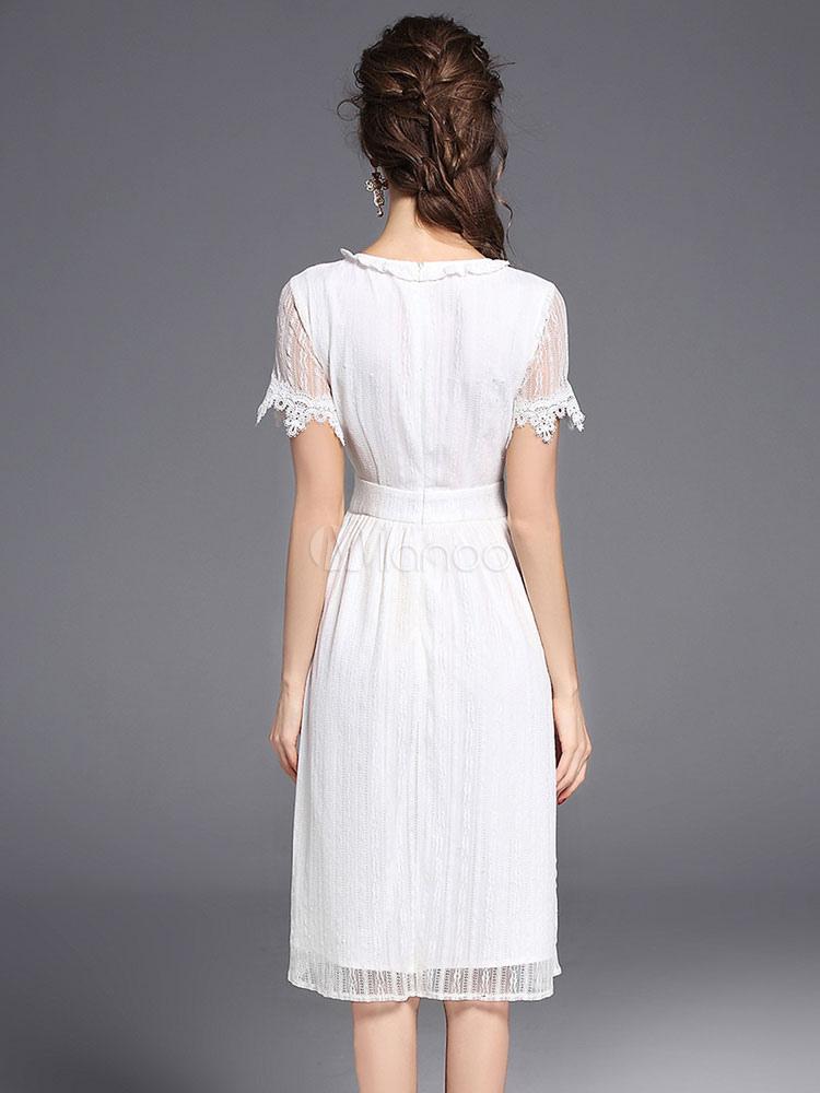 robe d 39 t blanche en coton avec dentelle et dentelle col rond. Black Bedroom Furniture Sets. Home Design Ideas