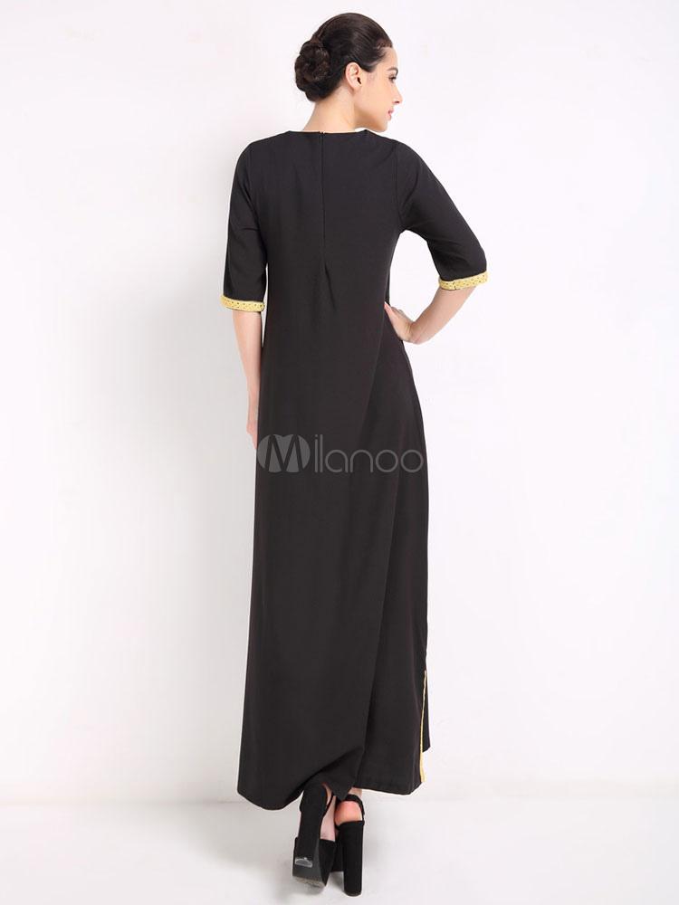 robe longue en coton fendu avec dentelle col rond. Black Bedroom Furniture Sets. Home Design Ideas