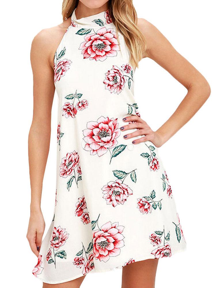 Black Shift Dress Halter Sleeveless Backless Floral Printed Short Dress For Women (Women\\'s Clothing Shift Dresses) photo