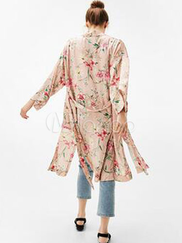 kimono mit printmuster polyester mit kleidung blumen print taille krawatte langarm schlitz. Black Bedroom Furniture Sets. Home Design Ideas