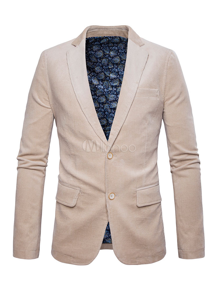 Men's Blazer Jacket Turndown Collar Long Sleeve Two Buttons Pana Patch Casual Suit thumbnail
