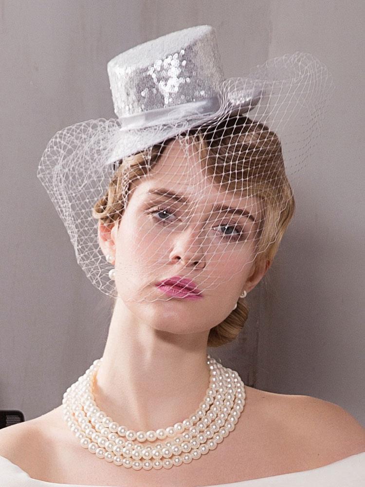 chic cosplay chapeau pour femme synth tique argent gris de mariage de film chapeau. Black Bedroom Furniture Sets. Home Design Ideas