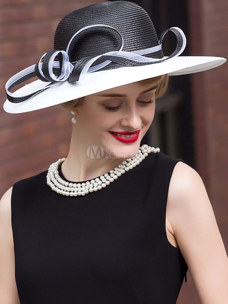 Chic cosplay chapeau pour femme en fibre polyester noir de - Deguisement audrey hepburn ...
