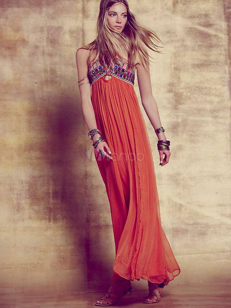Boho Maxi Dress Orange Halter Sleeveless Backless Long Dress For Women (Women\\'s Clothing Maxi Dresses) photo