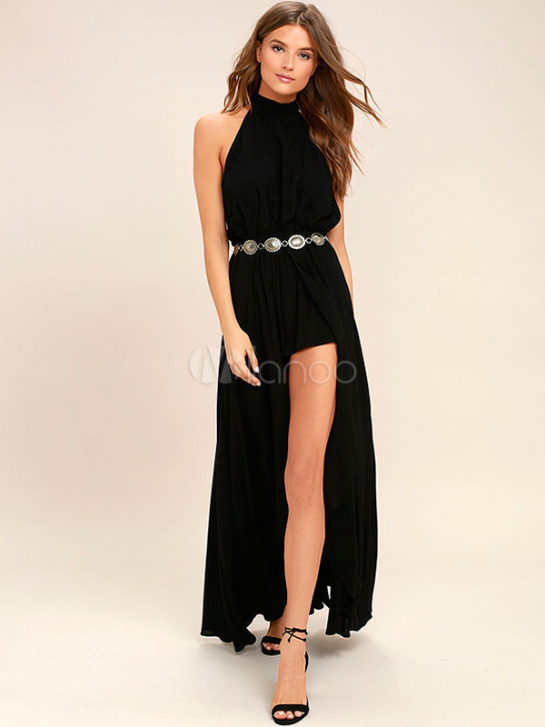 Black Maxi Dresses Halter Backless Women's High Split Long Dress (Women\\'s Clothing) photo