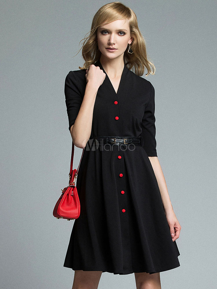 Black Party Dress V Neck Half Sleeve Buttons Women's Skirt Dresses With Sash (Women\\'s Clothing Party Dresses) photo