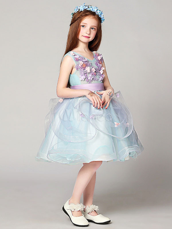 Pastel Blue Flower Girl Dress