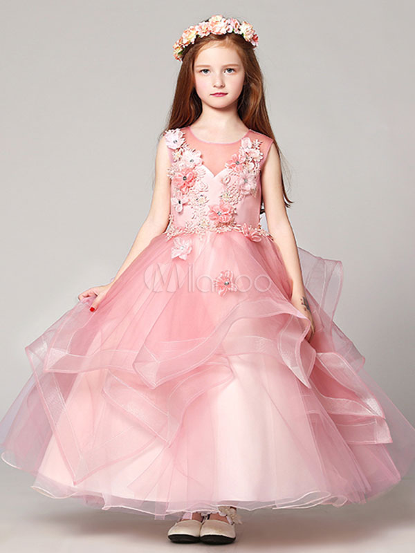 Flower Girl Dresses Ball Gown Organza Floor Length Applique Soft Pink Pageant