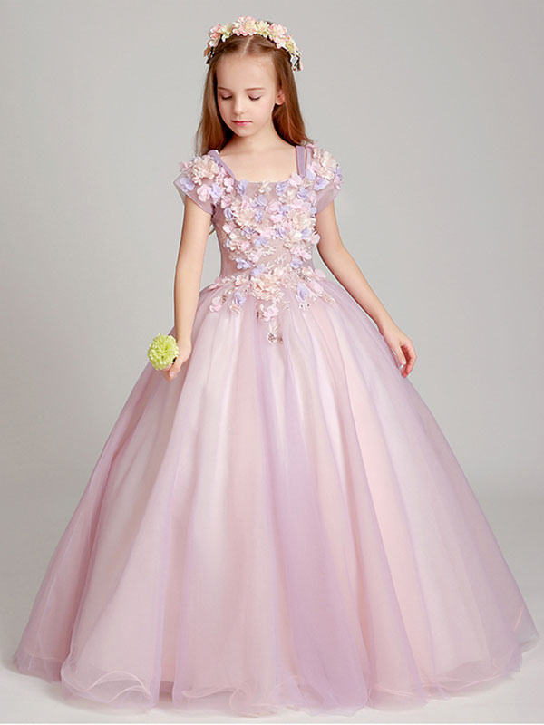 Flower Girl Dresses Soft Pink Off The Shoulder Applique