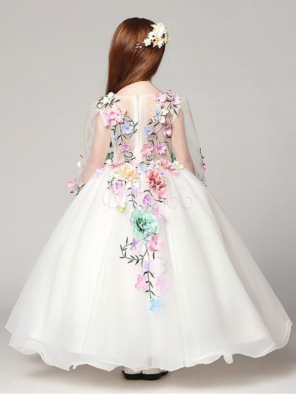 Princess Flower Girl Dresses White Floor Length Applique V