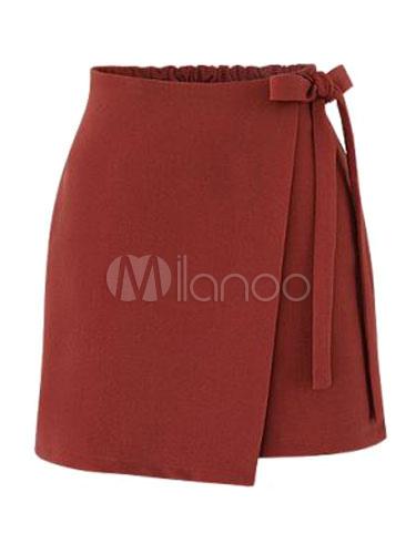 Burgundy Short Skirt Asymmetrical Side Tie Women's Summer Skirts thumbnail
