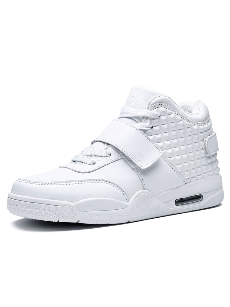 White Skate Shoes Round Toe Lace Up High Top Sneakers For Men thumbnail