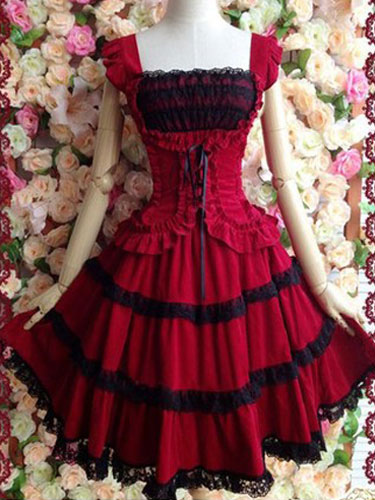 Gothic Lolita Dress JSK Cotton Lace Trim Pleated Red Lolita Jumper Skirt (Costumes Lolita Jumper Skirts) photo