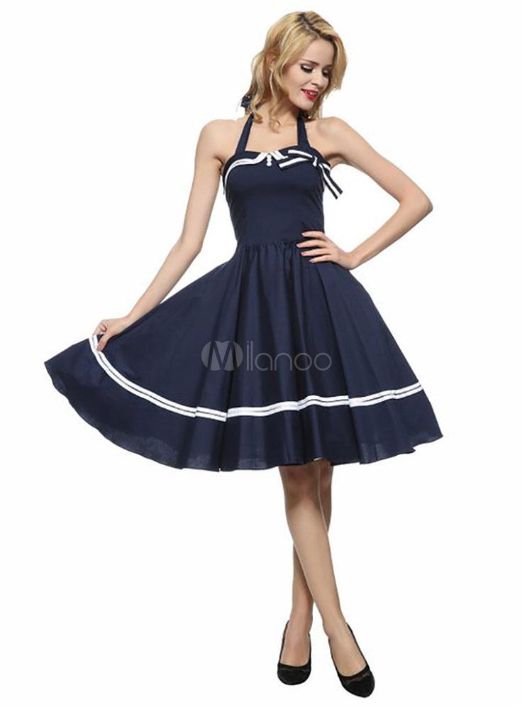 Women's Vintage Dress Deep Blue Halter Sleeveless Bow Pleated Skater Dress (Women\\'s Clothing Vintage Dresses) photo