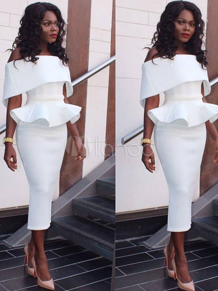 Women Party Dress White Bodycon Dress Off The Shoulder Peplum Going Out Pencil Dress (Women\\'s Clothing Bodycon Dresses) photo