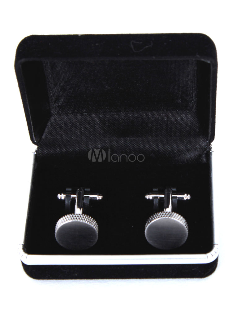 Silver Personalized Cufflinks Embossed Round Stainless Steel Men's Wedding Party Sleeve Button thumbnail