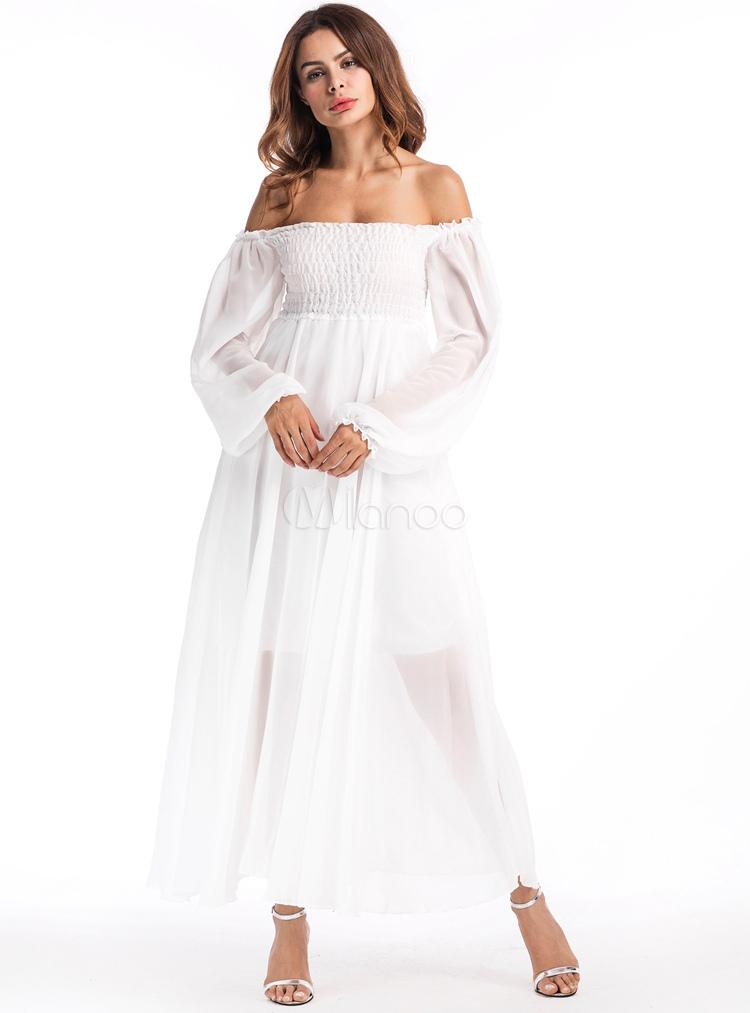 Women White Dress Chiffon Off The Shoulder Puff Long Sleeve Maxi Dress (Women\\'s Clothing Maxi Dresses) photo