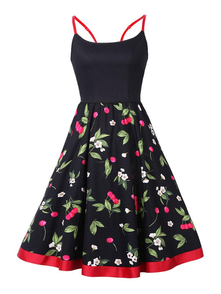 Black Vintage Dress Strappy U Neck Sleeveless Cherry Printed Pleated Skater Dress (Women\\'s Clothing Vintage Dresses) photo