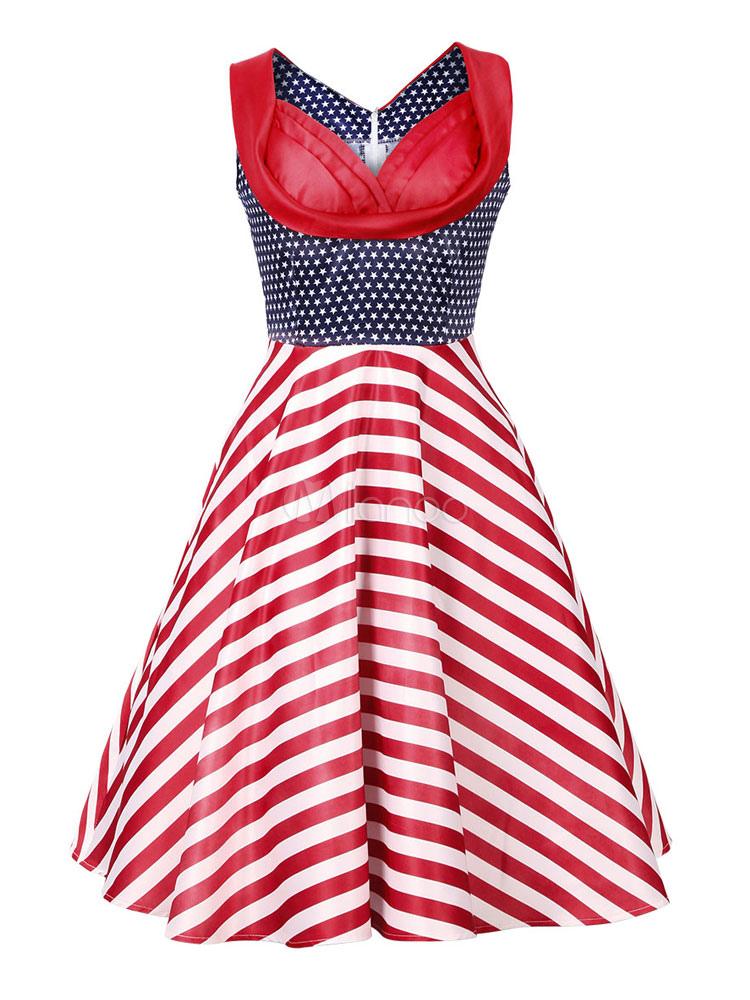 Red Vintage Dress Women's V Neck Sleeveless Striped Pleated Skater Dress (Women\\'s Clothing Vintage Dresses) photo