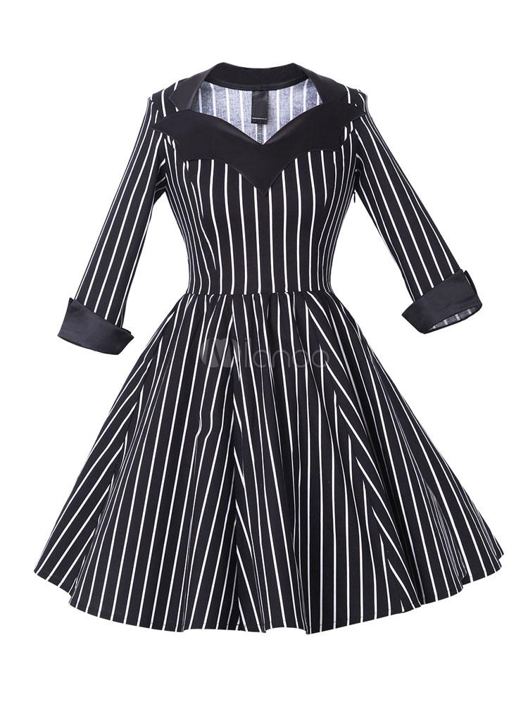 Black Vintage Dress Women's Striped 3/4 Length Sleeve Pleated Skater Dress (Women\\'s Clothing Vintage Dresses) photo