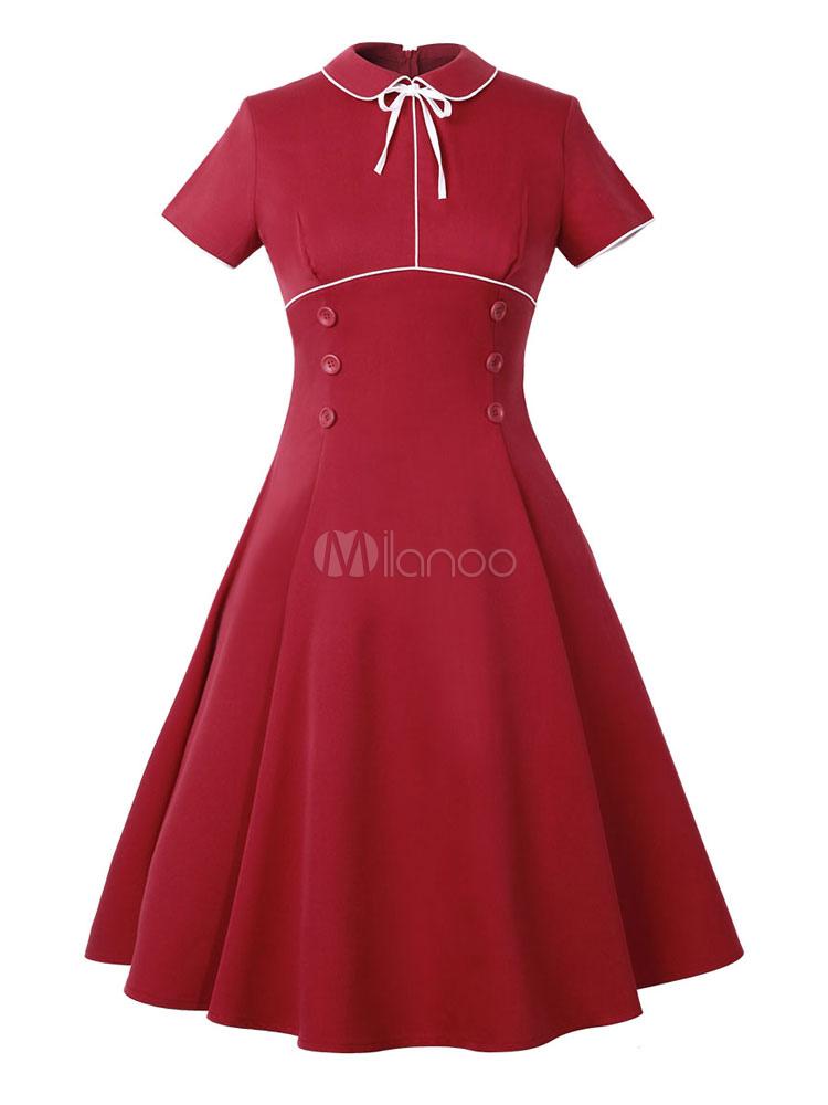 Red Vintage Dress Turndown Collar Short Sleeve Slim Fit Pleated Skater Dress (Women\\'s Clothing Vintage Dresses) photo