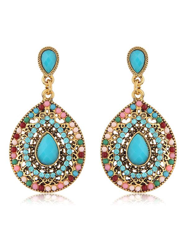 Women's Drop Earrings Boho Rhinestones Beaded Pierced Dangle Earrings thumbnail