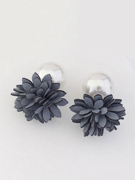 Flower Pearl Earrings Grey Women's Stud Earrings thumbnail